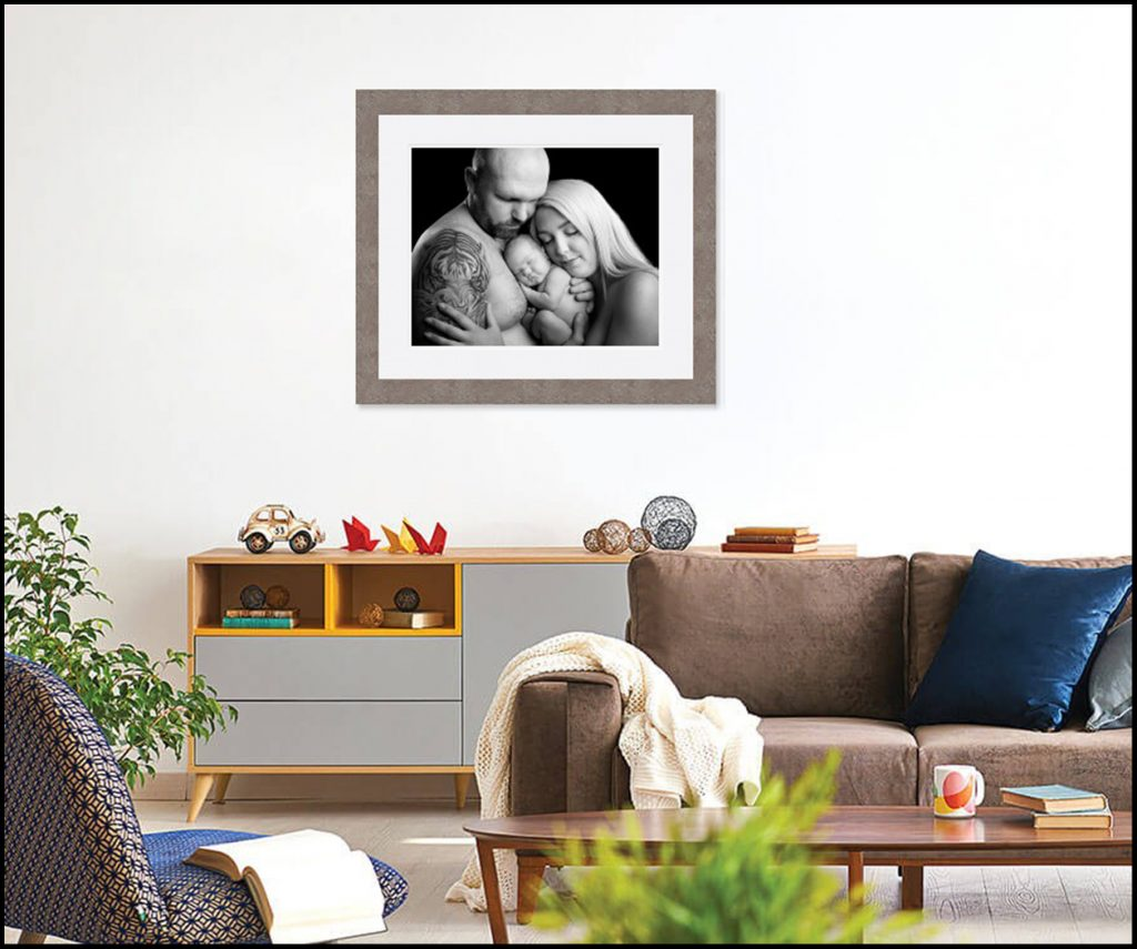 Newborn Family photograph in Living room