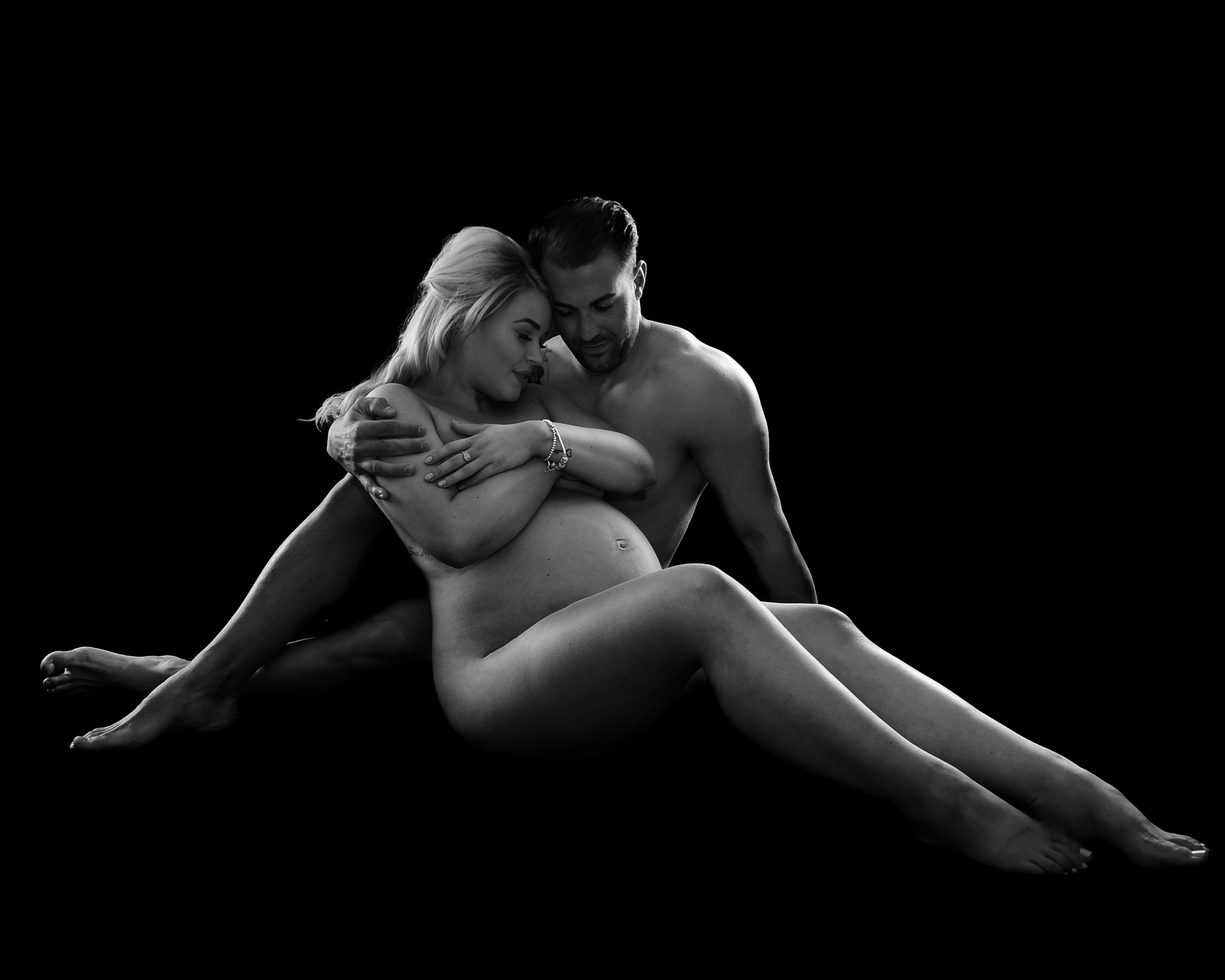 Naked couple pregnancy portrait by Treasured Moments Photography