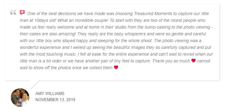 Amy Williams review on Treasured Moments Photography