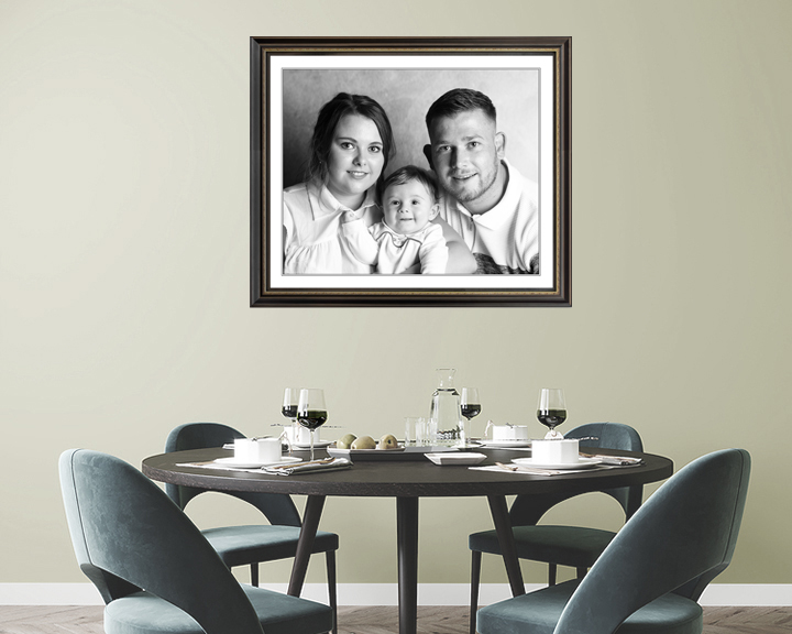 Family photo on Dinning room wall