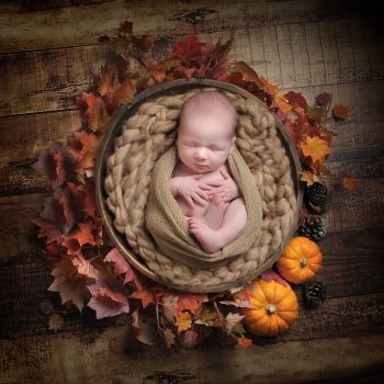 baby sleeping in bowl Autumn scene